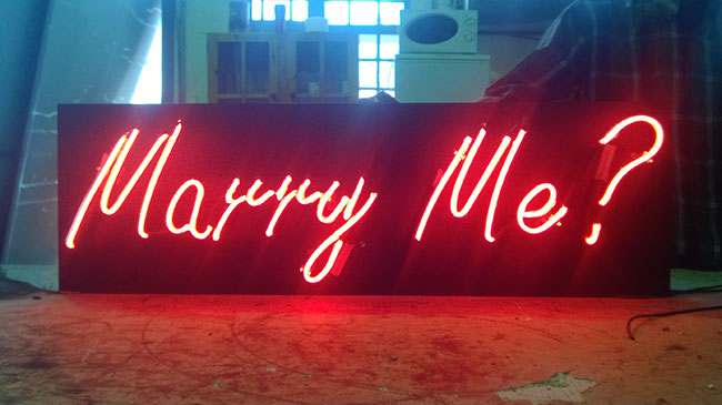 Neon Lit Marry Me Sign - Neon Signage